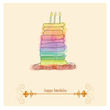 Happy birthday background. Birthday card witn a watercolor paint cake Stock Photo