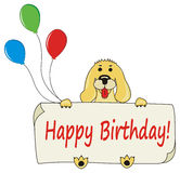 Happy Birthday background with cartoon dog Stock Photography