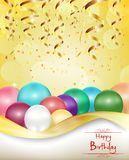 Happy birthday background with color balloons and golden confetti. Illustration of Happy birthday background with color balloons and golden confetti Royalty Free Stock Images