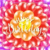 Happy Birthday on background from colorful balloons. Text Happy Birthday on background from colorful balloons, illustration Stock Photos