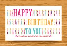 Happy birthday background with colorful candle stock illustration