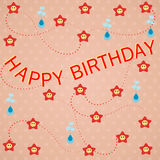 Happy Birthday background. Colorful happy birthday card design with Stars and butterflies Stock Photography