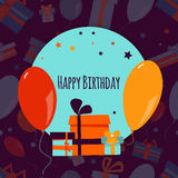 Happy Birthday background with colorful gift boxes and balloons. Vector illustration Stock Image
