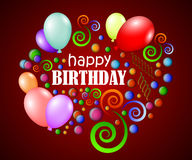 Happy birthday background with colorful glossy balls and color balloons Stock Photos