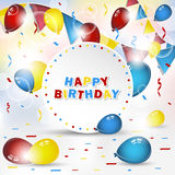 Happy birthday  background with confetti and balloons Royalty Free Stock Photo