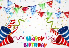 Happy birthday background with confetti Royalty Free Stock Image