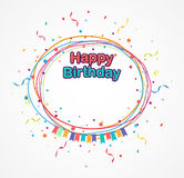 Happy birthday background with confetti vector illustration