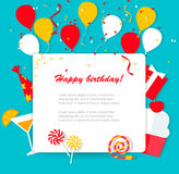 Happy Birthday background. With flat icons set, vector Royalty Free Stock Photos