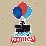 Happy Birthday Background With Gift And Balloons. Vector Illustration Royalty Free Stock Photography