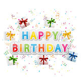 Happy birthday background with gift boxes Stock Images