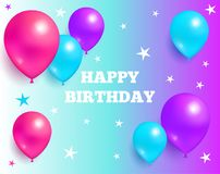 Happy Birthday Background Glossy Balloons and Star. Happy birthday background glossy balloons with stars on purple and blue backdrop, flying air balloon greeting Stock Photos