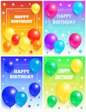 Happy Birthday Background Glossy Balloons and Star. Set of happy birthday backgrounds glossy balloons with stars on multi color backdrops, flying air balloon Royalty Free Stock Images