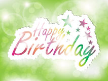 Happy Birthday Background. Happy Birthday greeting card, with space for text on a glowing green background vector illustration