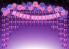 Happy Birthday Background with Hanging Twisted Ribbons. Happy Birthday Background with Purple and Pink Paper Flowers and Hanging Twisted Ribbons - Colorful Stock Images