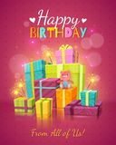 Happy Birthday Background. Happy birthday red background with congratulations text fireworks many gift boxes and teddy bear vector illustration Royalty Free Stock Image