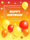 Happy Birthday Background Invitation Card Balloons. Happy birthday background in orange yellow and red color invitation card with flying inflatable balloons and Stock Photo