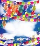 Happy Birthday background invitation or congratulation card template. Stock Photo