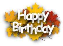 Happy birthday background with leaves. Stock Image