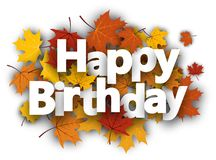 Happy birthday background with leaves. Royalty Free Stock Photos
