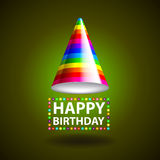 Happy birthday background with party hat vector Royalty Free Stock Photography