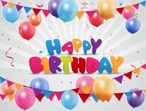 Happy Birthday background with pennants, colorful balloons, and confetti Royalty Free Stock Photo