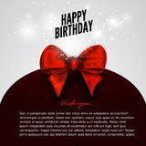 Happy birthday background with red bow design template.  Royalty Free Stock Photos
