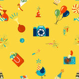 Happy Birthday Background. Happy Birthday Seamless Background Pattern. Simple, Minimalistic and Flat Style. Colorful. Vector Stock Image
