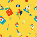 Happy Birthday Background. Happy Birthday Seamless Background Pattern. Simple, Minimalistic and Flat Style. Colorful. Vector Stock Images