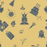 Happy Birthday Background. Happy Birthday Seamless Background Pattern. Simple, Minimalistic and Flat Style. Retro Color. Vector Royalty Free Stock Photography