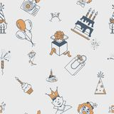 Happy Birthday Background. Happy Birthday Seamless Background Pattern. Simple, Minimalistic and Flat Style. Retro Color. Vector Royalty Free Stock Photos