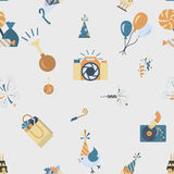 Happy Birthday Background. Happy Birthday Seamless Background Pattern. Simple, Minimalistic and Flat Style. Retro Color. Vector Royalty Free Stock Images