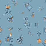 Happy Birthday Background. Happy Birthday Seamless Background Pattern. Simple, Minimalistic and Flat Style. Retro Color. Vector Stock Photos
