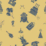 Happy Birthday Background. Happy Birthday Seamless Background Pattern. Simple, Minimalistic and Flat Style. Retro Color. Vector Stock Image