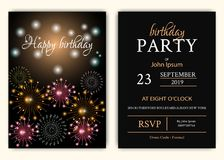 Happy birthday background with  sparkle color fireworks. Birthday background with  sparkle color fireworks Stock Photography