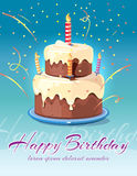 Happy birthday background with tasty cake and candles vector illustration. Card for invitation and congratulation Royalty Free Stock Photos