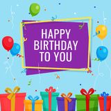 Happy Birthday Background Template with Gift Box and Party Balloon. Vector EPS10 Stock Photography