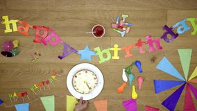 Happy Birthday background theme top view stock video footage