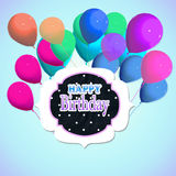Happy birthday. Background ticket  with  colored balloons and written happy birthday Royalty Free Stock Images