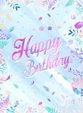 Happy Birthday background vector illustration with watercolor style for someone special birthday. soft cold color.  Stock Image