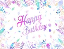 Happy Birthday background vector illustration with watercolor style for someone special birthday. soft color foliage.  Stock Images