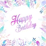 Happy Birthday background vector illustration with watercolor style for someone special birthday. soft color foliage.  Stock Photography