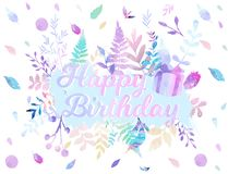Happy Birthday background vector illustration with watercolor style for someone special birthday. soft color foliage.  Stock Photo