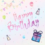 Happy Birthday background vector illustration with watercolor style for someone special birthday. Happy Birthday background vector illustration with watercolor Royalty Free Stock Image
