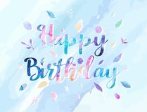 Happy Birthday background vector illustration with watercolor style for someone special birthday. soft cold color. Background style Royalty Free Stock Photo