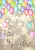 Happy Birthday background. Watercolor hand drawn template for greeting cards with balloons and lettering. Happy Birthday background. Watercolor hand drawn stock illustration