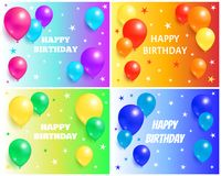 Happy Birthday Backgrounds with Glossy Balloons. On backgrounds with stars, flying air balloon greeting cards design congratulations on color backdrops Royalty Free Stock Photos