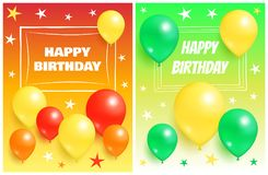 Happy Birthday Backgrounds Invitation Cards Set. Happy birthday backgrounds invitation cards with flying inflatable balloons and stars vector illustration Royalty Free Stock Photography