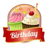 Happy birthday badge with cupcakes. Template of happy birthday badge with cupcakes Royalty Free Stock Images