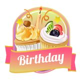 Happy birthday badge with sweet cupcakes. And pink color Stock Image