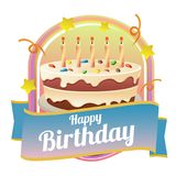 Happy birthday badge theme with big cake. Additional in eps 10 Royalty Free Stock Photos